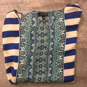 The Limited Blue Striped Silky Blouse